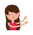 young girl sent air kiss vector image