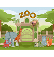 Zoo gate with animals 3 vector image vector image