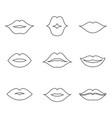 lips outline thin art set vector image