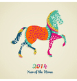 2014 Year of the Horse greeting card vector image vector image