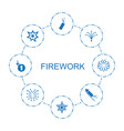 8 firework icons vector image vector image