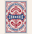 a vintage label for cannabis theme vector image