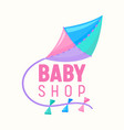 baby shop banner with flying kite pink blue vector image