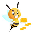 bee pointing on coins bee holding coins on vector image vector image