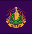 beer day brewery icon bootle and banner vector image
