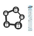 blockchain network icon with bonus pictograms vector image