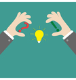 Businessman hands holding idea light bulb question vector image