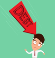 Businessman worried about big debt Debt concept vector image vector image