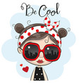 cartoon girl with sun glasses vector image