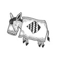 cartoon sleeping donkey sketch engraving vector image