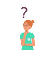 cartoon young adult girl thinking icon vector image vector image