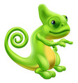 chameleon mascot pointing vector image vector image