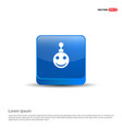 christmas ball icon - 3d blue button vector image
