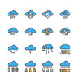 cloud technology icon set in colorline design vector image vector image