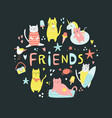 collection funny summer cats and lettering vector image