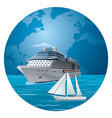 cruise ship and luxury yacht vector image vector image