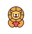 cute lion love heart cartoon playful logo icon vector image