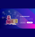 cybersport concept gamer in headset playing on pc vector image