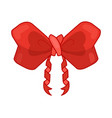 decorative red bow with ribbon bow vector image vector image