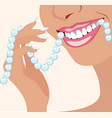 face of girl and smile with ideal teeth for vector image vector image