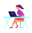 female it specialist with ponytail working on vector image vector image