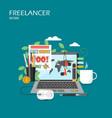 freelancer work flat style design vector image vector image
