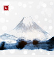 fujiyama mountain on white glowing background vector image
