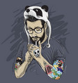 gentleman tattooed bearded smoked panda hat vector image vector image
