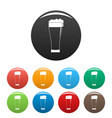 glass of beverage icons set color vector image vector image