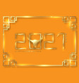 gold frame chinese new year 2021 year ox vector image vector image