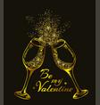 golden glittering glasses of champagne vector image