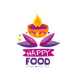 happy food logo design for poster invitation vector image vector image
