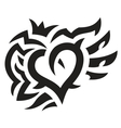 Heart with crown and wings tattoo vector image vector image