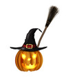 jack-o-lantern halloween pumpkin with black vector image