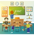 Kids cleaning classroom vector image