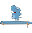 little hippo-gymnast Cartoon vector image vector image