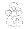 love cupid sitting in cloud cartoon vector image