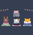 merry christmas celebration cute deer bear and fox vector image vector image
