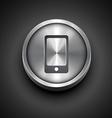 metallic phone icon vector image vector image