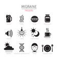 migraine triggers icons set monochrome vector image vector image