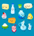 milk and dairy product cartoon character set of vector image vector image