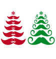 Mustache Christmas trees vector image vector image