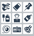 office stationery icons set pencil sharpener vector image vector image