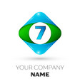 realistic number seven in colorful rhombus vector image vector image