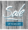 Sale banner with hand-lettering and old wood vector image