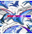 seamless pattern of flying pterodactyls drawn in vector image