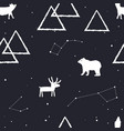 seamless pattern with stars mountains