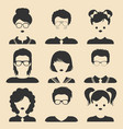 set of different male and female children vector image vector image