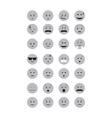 Set of grey Emoticon vector image vector image