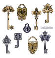set of old castles and keys in sketch style vector image